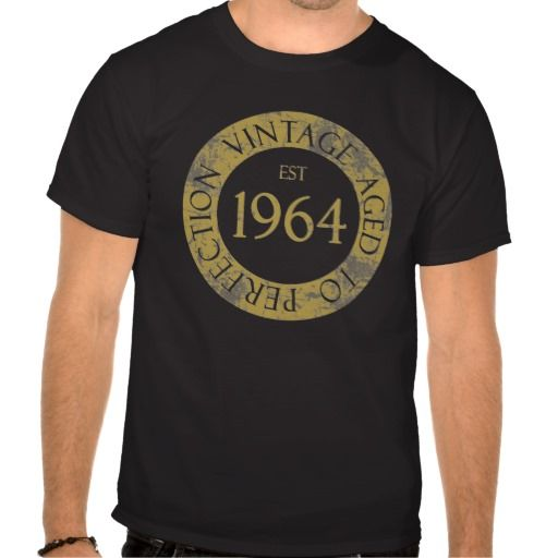 1964 Birthday Seal Gifts T Shirt. Celebrate your 50th birthday with this unique birthday gift idea featuring a golden seal that says 'Vintage, Aged To Perfection'. #50 #50thbirthday