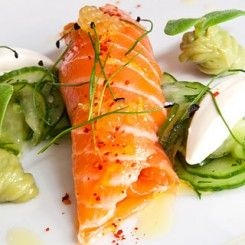 Marinated Salmon with Wasabi-Cucumber Salad & Avocado ...