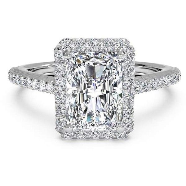 Radiant Cut French-Set Halo Diamond Band Engagement Ring in Platinum... ❤ liked on Polyvore featuring jewelry, rings, thin diamond ring, thin band rings, platinum rings, engagement rings and band rings