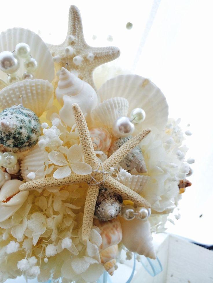 泡のよう!かすみ草入り貝の3点|ウェディングブーケ 花冠専門店 Chococosu ちょここす
