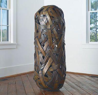 """UNTITLED   Jiro Yonezawa  bamboo, urushi lacquer  55"""" x 19"""" x 19"""", 2005"""