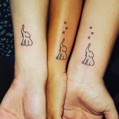 Trunks held high. | 19 Sibling Tattoos For When There's More Than Two Of You