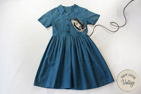 New Look Vintage Genuine 50s Houndstooth Cotton by NewLookVintage #PeggieOlsen #BettyDraper #MadMen #ShirtDress #Blue #check #houndtooth #spring #summer #pinup #TeaParty #VivaLasVegas #rockabilly