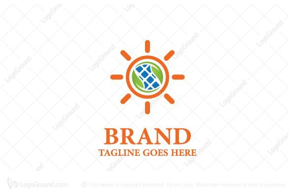 Playful and modern logo of a sun that has two leaves inside and solar pannel in the middle representing natural energy, green / eco power, solar pannels, etc.