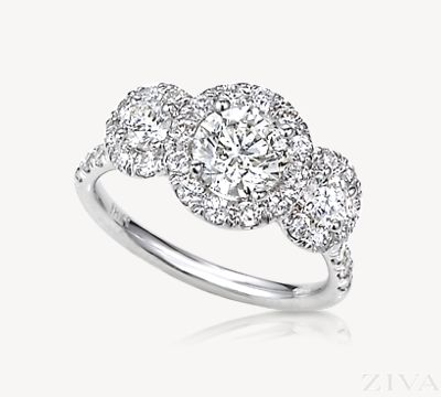3-Stone Halo Engagement Ring