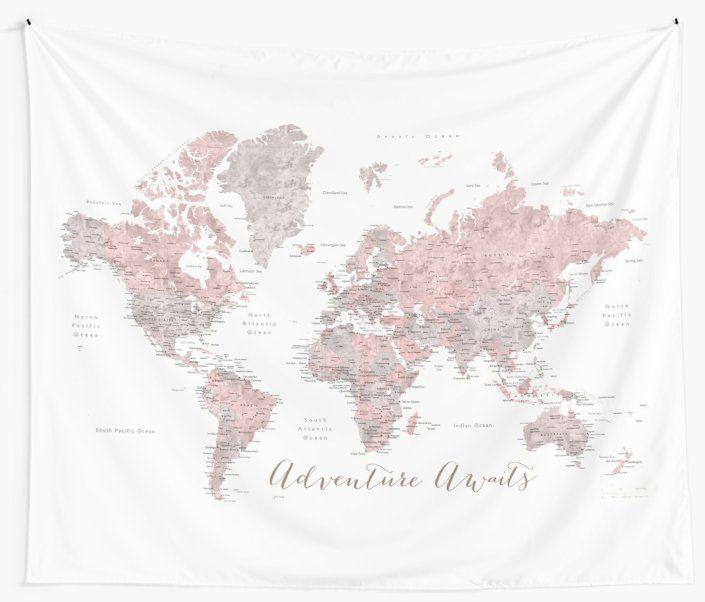 In Staubigem Pink Und Grau Erwartet Sie Ein Weltkartenabenteuer