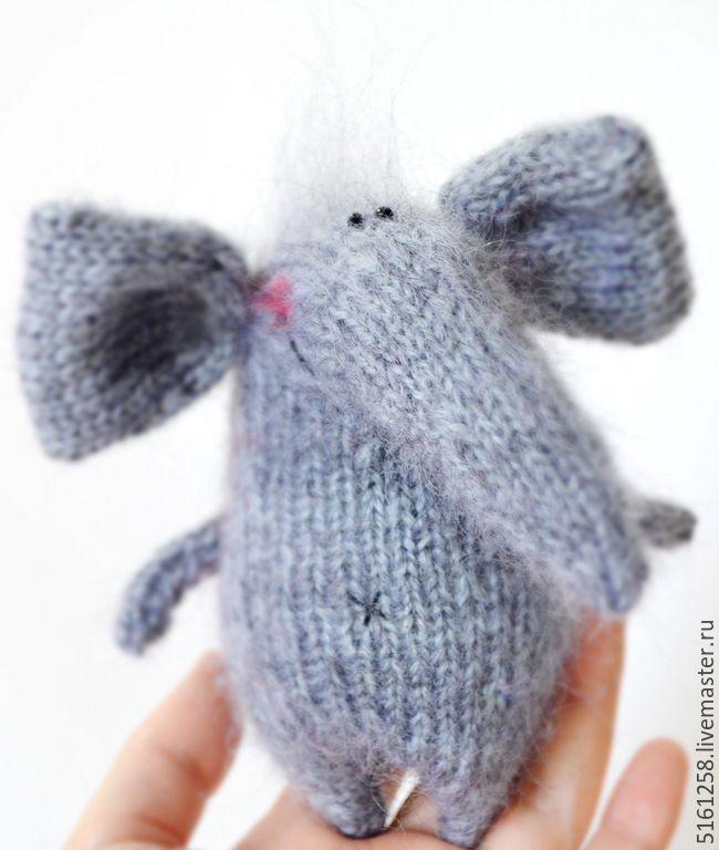 Купить Серый Слоняшка ( вязаная игрушка слоник) - серый, красный, слон, слоник