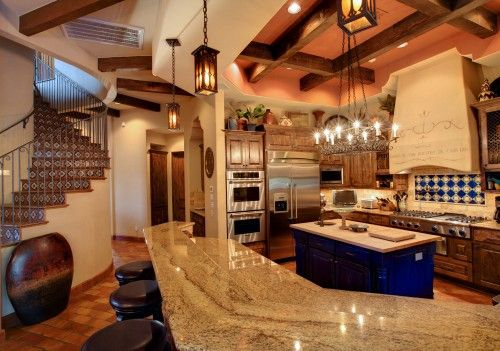 Love the blue island! Cimarron Hacienda mediterranean kitchen