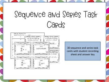 Sequence and Series Task Cards are an effective way for students to practice and solidify their understanding of arithmetic and geometric sequences and series. This activity requires that students differentiate between arithmetic and geometric sequences and series and use both explicit and recursive formulas to solve problems. There are endless ways to use task cards. I use these cards as an in class review assignment.  Product is $3, click the link to learn more!