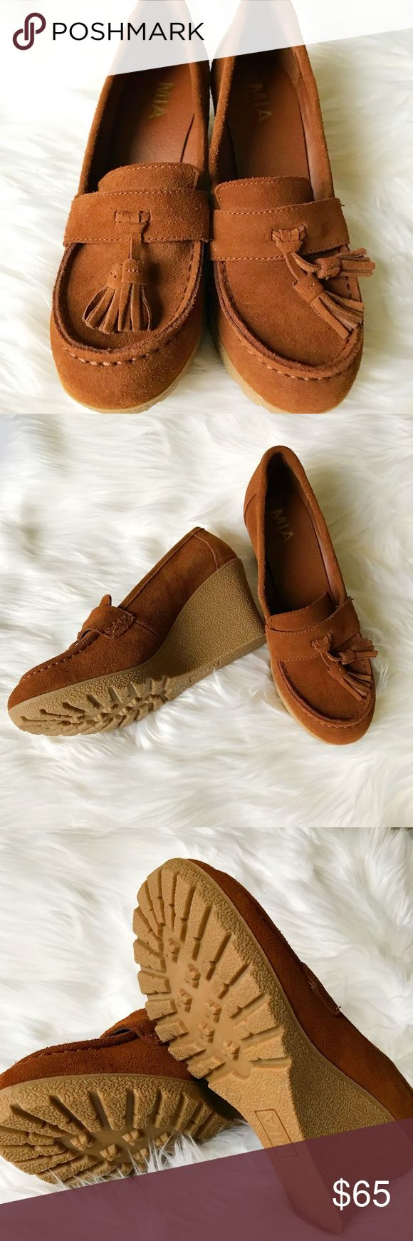 """MIA SUEDE LOAFER PUMPS MIA SUEDE TASSEL WEDGE LOAFER size 8  New! Without box 👠👠 gorgeous rust color.  Comfy suede wedge loafers flaunt a tassel accent Man-made heel, 3"""" (76mm) Platform, 0.5"""" (13mm) Compares to a 2.5"""" (64mm) heel Round toe Suede upper Slip-on style Polyurethane lining Man-made sole Padded insole MSRP $175 Mia Shoes"""
