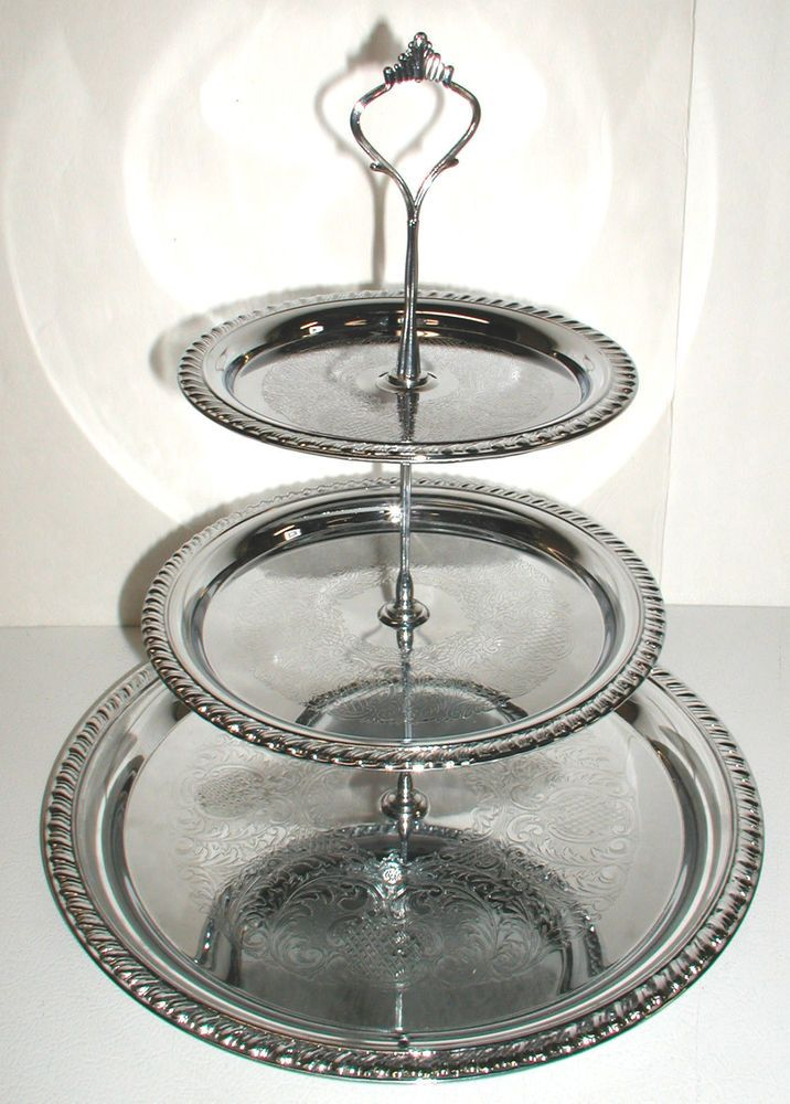vintage 1960s irvinware chrome 3 tier serving tray 2100 wedding party catering 1960s wedding. Black Bedroom Furniture Sets. Home Design Ideas