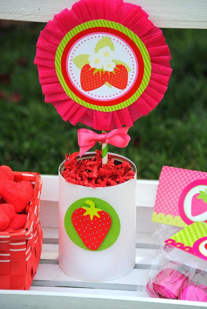 Fun centerpieces at a strawberry birthday party! See more party ideas at CatchMyParty.com!