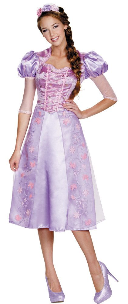 Rapunzel Deluxe Adult is a lovely storybook purple dress with a lace-up look bodice and a skirt with pink and purple flower print sheer overlay with satin underskirt. Below-the-knee hemline.