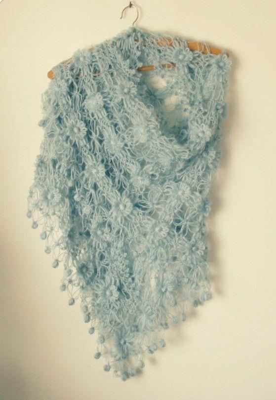 So delicate & feminine: Blue Shawl, Lace Shawl, Blue Lace, Crochet Lace, Beautiful Scarfs, Delicate Crochet, Crochet Shawl, Crochet Knits, Crochet Scarfs