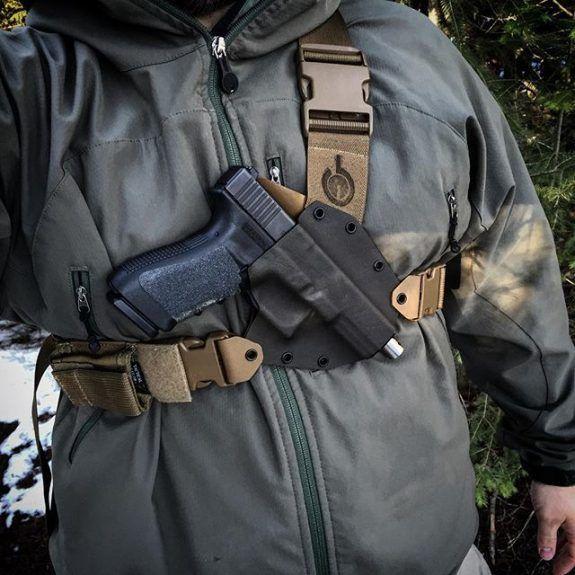 Kenai Chest Holster GunfightersINC over shoft shell