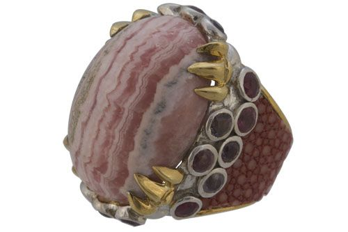 Ring stingray stone gold silver luxury jewel fashion 30 colors stingray leather