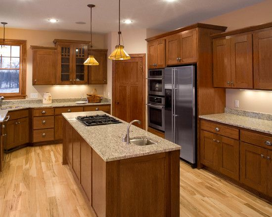 Kitchen kitchens with natural cherry cabinets and granite counters