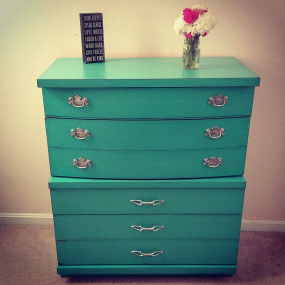 "Turquoise Mid Century Modern Dresser by Furniture Alchemy; Annie Sloan Chalk Paint in a mix of ""Florence"" and ""Old White"", distressed"