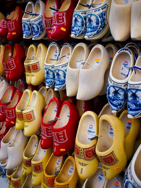 Wooden shoes (or clogs), this is a typical product associated with the Dutch population. In a lot of countries around the world it is believed that Dutch people walk around in wooden shoes the entire day. As you can see wooden shoes come in different kinds and colours. Traditionally clogs were worn during heavy labour. Today the still serve as protective clothing in the agricultural environment.