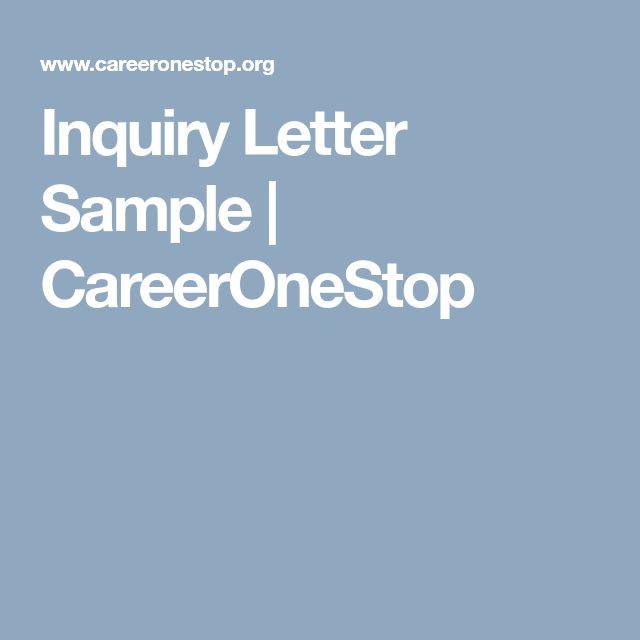 Inquiry Letter Sample | CareerOneStop