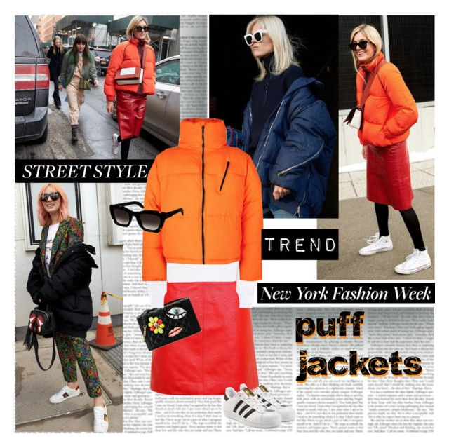 NYFW Street Style Trend Puff Jackets by stylepersonal on Polyvore featuring polyvore, fashion, style, Boutique Moschino, Topshop, adidas Originals, Kuboraum, clothing and NYFW