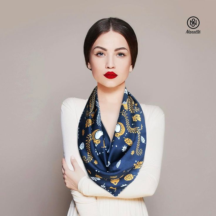 Moriko Double Sided Scarf.  #doublesided #scarf #trianglescarf #scarves #inspiration #navy #nanette #fashion #trends