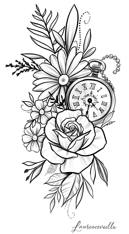 Dessin de tatouage horloge fleur de marguerite rose Laurence Veilleux   Tatoueur #flowert …   – Flower Tattoo Designs