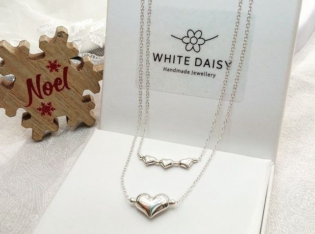Sterling silver hearts stacker necklace set.   £29.00