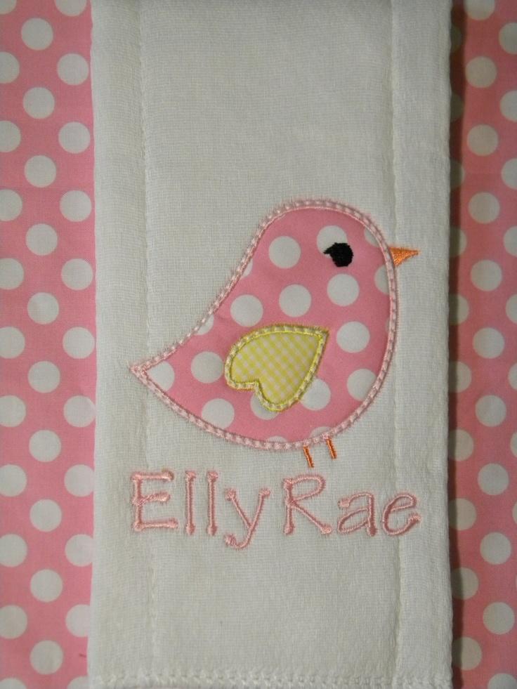 Custom Boutique Sweet BIRD applique Burp Cloth
