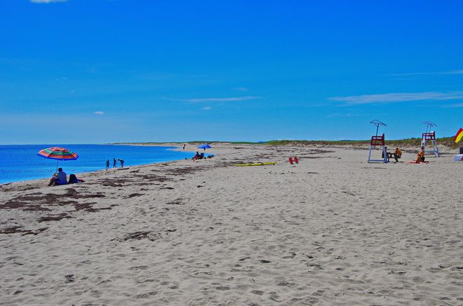 Long stretches of clean white sand at Callander Beach, Kouchibouguac National Park in New Brunswick