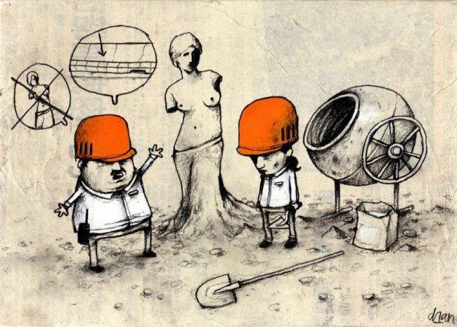 Французский художник Dran высмеивает в своих рисунках современную культуру и образ жизни. Работы этого художника называют циничными. Возможно. Но они не более циничны, чем безумен современный мир, отражённый на них. Не зря его часто называют «французским Banksy». Dran светлый художник — это не чернуха, а стремление, чтобы мир стал чище. Его работы нельзя назвать милыми, красивыми, но интерес они представляют абсолютно точно — его голова переполнена идеями.
