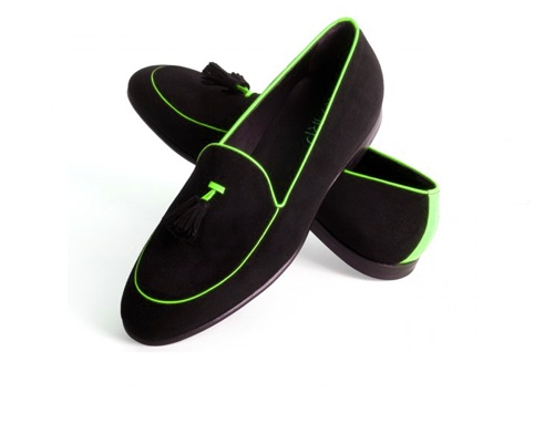 Warp Shoes – mocassino in camoscio nero e giallo fluo