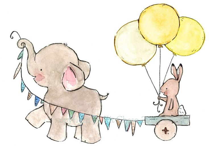 Love this! Baby elephant and bunny decor--- JOYRIDE sunishine-- 8x10 Archival Art Print. 20.00, via Etsy.
