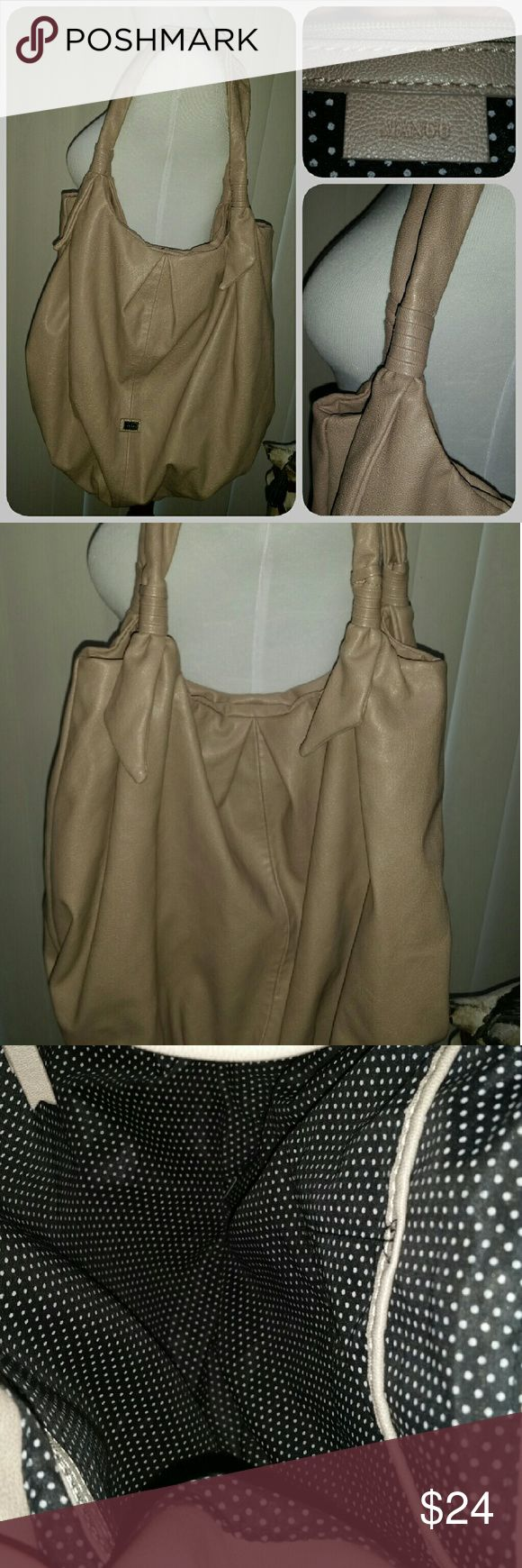 MANGO tote Faux leather light pinkish taupe color (like a light mauve). Snap closure. In excellent condition Mango Bags Totes