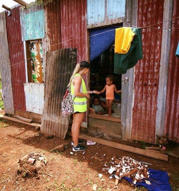 Tara visiting a Fijian village absolutely torn apart by Cyclone Winston in 2016.  The family of 12 were living in a tin shed which felt 40+ degrees.   Thank-you Tara for your incredible efforts during this period.