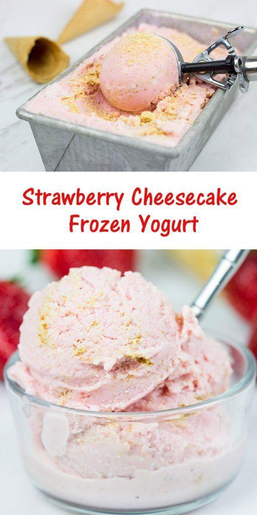 with cream cheese and yogurt, this Strawberry Cheesecake Frozen Yogurt ...