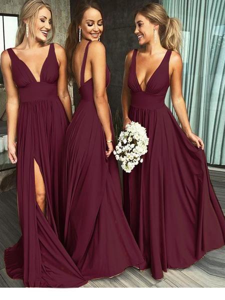 Sexy V-Neck Sleeveless Burgundy Chiffon Long Bridesmaid Dresses 09ae703f9