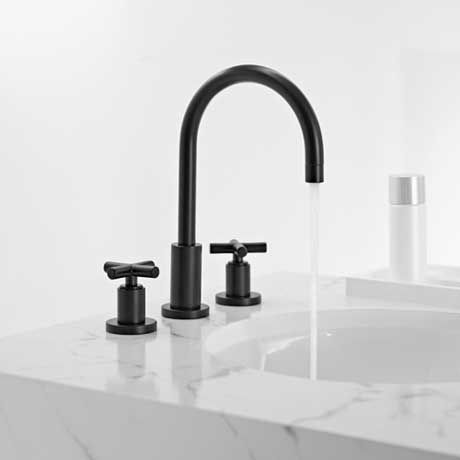 Fantastic Single Loop Handle Tall Vessel Sink Faucet With Waterfall Spout Jewel Faucets, The Showpiece Of Any Bath, Presents This Single Loop Handle Vessel Sink Faucet With A Waterfall Spout And The Tall Body This Faucet Has Solid Brass