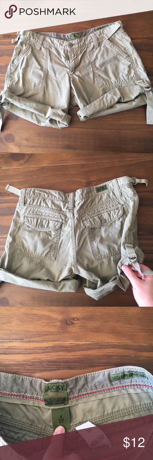 Lucky shorts Really cool army shorts! Has a lot of flare! Great condition, only thing I will say is it has a teeny tiny bleach dot on it. It's so tiny you can't see in the pic (or when wearing them) but I zoomed in so you could see. I already discounted price anyway. 😊 Lucky Brand Shorts