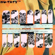 Nu-TATY 30 style Nail Wraps Autocollants, rose et Noir Dentelle papillon Conceptions, étanche Nail Arts Gel Polish Feuilles Garder 2-3 semaines(China (Mainland))