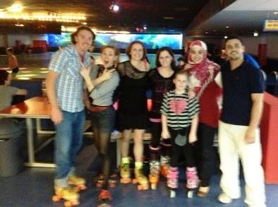 fusion of physical exercise with social activities - the team from work went out for a night of roller skating, it was a heap of fun! eighties theme!