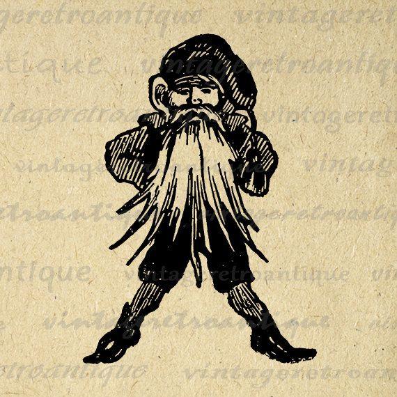 Digital Printable Santa Elf Christmas Image Download Graphic Artwork Antique Clip Art Jpg Png Eps 18x18 HQ 300dpi No.2451 @ vintageretroantique.etsy.com