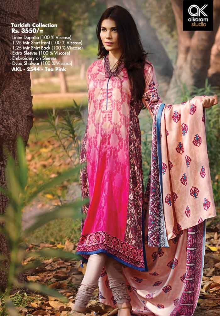AKL 2544 - Tea Pink Rs. 3550/- Linen Dupatta (100 % Viscose) 1.25 Mtr Shirt Front (100 % Viscose) 1.25 Mtr Shirt Back (100 % Viscose) Extra Sleeves (100 % Viscose) Embroidery on Sleeves Dyed Shalwar (100 % Viscose)  www.alkaramstudio.com
