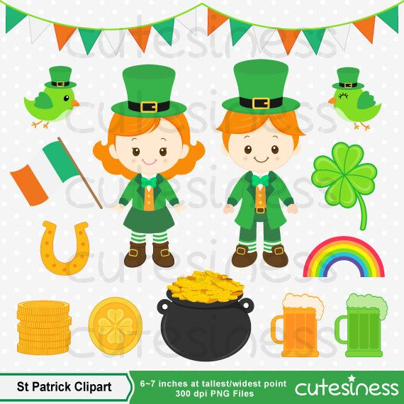 St Patricks Digital Clipart : 25 Graphics  ----------------------- ★★ Package Included ★★-----------------------------------  *You will received a total of 25 Files in PNG Format with TRANSPARENT background, Size of 6~7 Inches at tallest/widest point of 300 DPI resolution.  * 4 Main Characters * All Supporting items as shown. * Watermark will not appear on Actual Products * FREE Small Commercial Use --------------------★★ INSTANT DOWNLOAD ★★--------------------  Once your payment has bee...