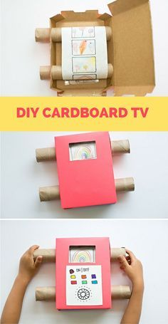 DIY Recycled Cardboard TV. Show off your kids art with this fun cardboard TV projector that's a great way to unplug from digital devices.: