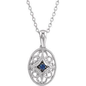 Blue Sapphire and Sterling Silver Filigree Necklace. $69.99