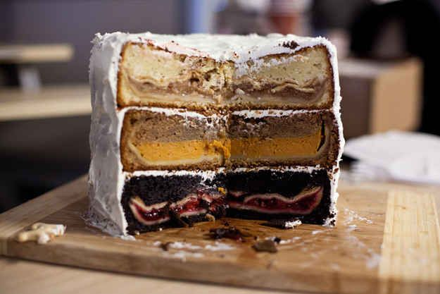 Cherpumple (three different pies stuffed in three different cakes!) | 18 Food Mashups That'll Blow Your Mind