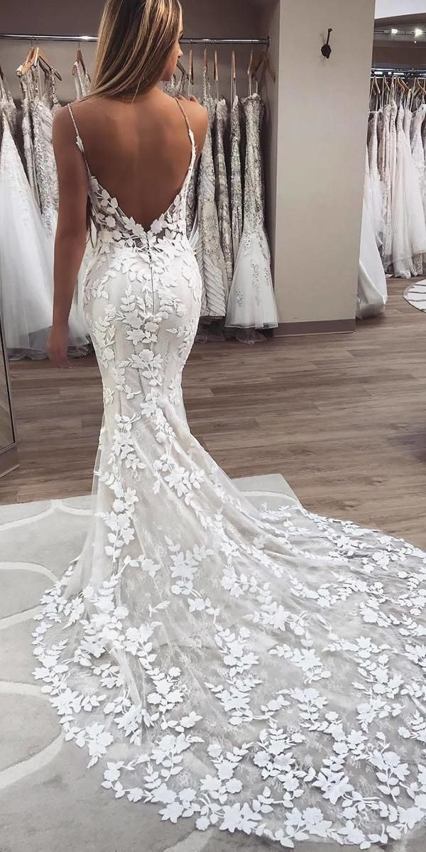 24 Trumpet Wedding Dresses That Are Fancy Romantic Wedding Dresses Guide Boho Wedding Dress Lace Lace Mermaid Wedding Dress Lace Applique Wedding Dress