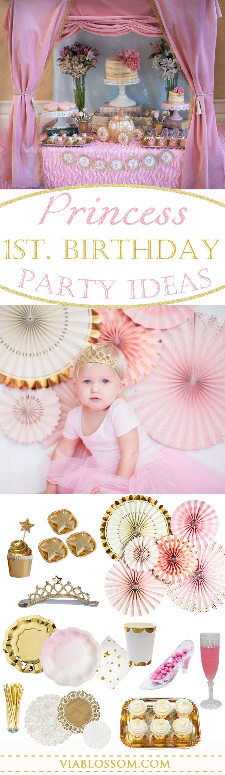 1st Birthday Party ideas for a Princess Birthday Party.  All the Gold and Pink Party ideas you will need for your girl Birthday party. #1stbirthdaygirlparty #princessbirthdayparty #princesspartyideas #pinkandgoldparty