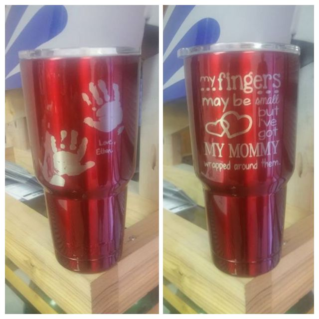 2417b605a88 Yeti Rambler, Colster ,Powder Coating and Laser Etching, Handprints,  Mother's Day, Red yeti ramblers. | Laser world | Yeti cup, Tumbler cups,  Ice ice baby